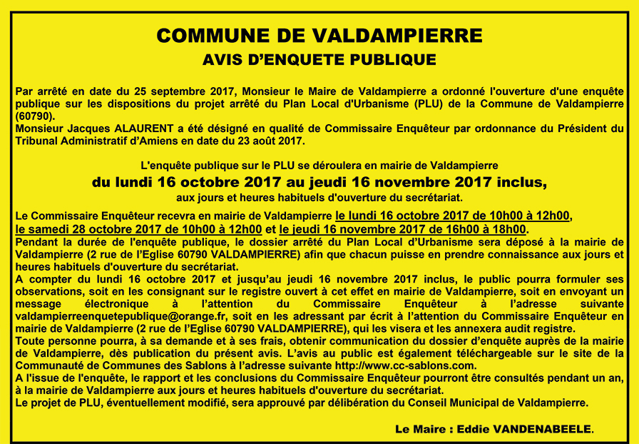 Valdampierre - Plan Local d'Urbanisme